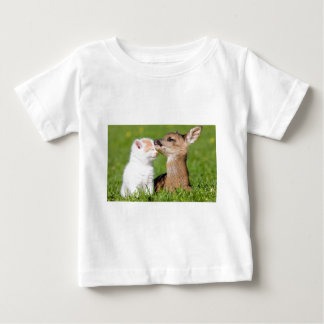 Baby Deer and Kitten Cuddle Baby T-Shirt