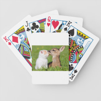 Baby Deer and Kitten Cuddle Bicycle Playing Cards