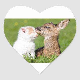 Baby Deer and Kitten Cuddle Heart Sticker