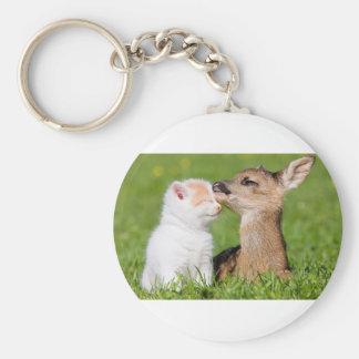 Baby Deer and Kitten Cuddle Key Ring