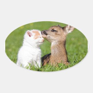 Baby Deer and Kitten Cuddle Oval Sticker