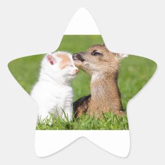 Baby Deer and Kitten Cuddle Star Sticker