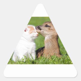 Baby Deer and Kitten Cuddle Triangle Sticker