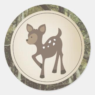 Baby Deer Camo Baby Shower Round Sticker