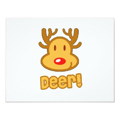 Baby Deer Cartoon 4.25x5.5 Paper Invitation Card