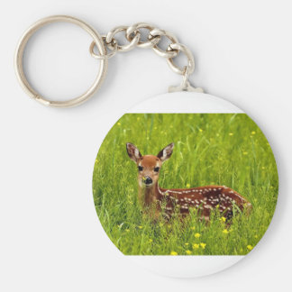 Baby Deer Fawn Basic Round Button Key Ring