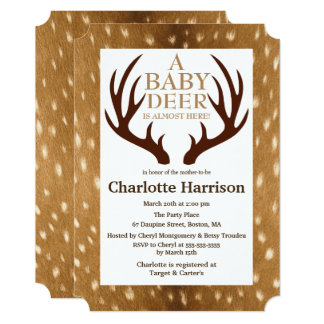 Baby Deer Fawn Fur & Antlers Baby Shower Card