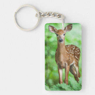 Baby Deer Fawn in the Forest Double-Sided Rectangular Acrylic Key Ring