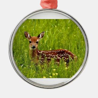 Baby Deer Fawn Metal Ornament