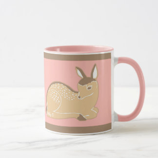 Baby Deer Illustration Pink Mug