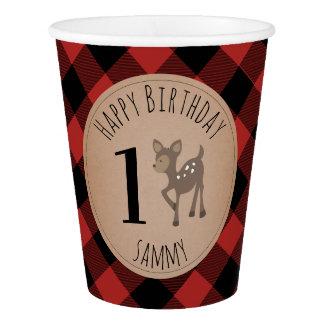 Baby Deer Lumberjack Plaid Birthday Paper Cup
