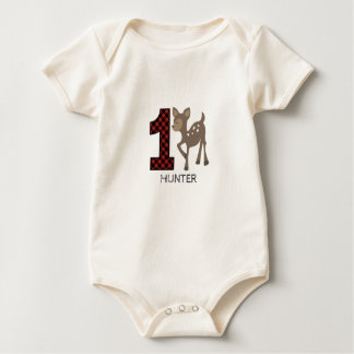 Baby Deer Plaid First Birthday Shirt