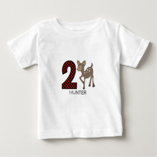 Baby Deer Plaid Second Birthday Shirt