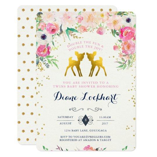 Baby Deer Twin Baby Shower Invitation