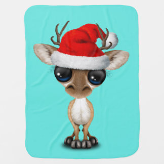 Baby Deer Wearing a Santa Hat Baby Blanket