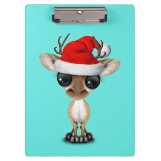 Baby Deer Wearing a Santa Hat Clipboard