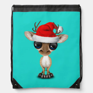 Baby Deer Wearing a Santa Hat Drawstring Bag