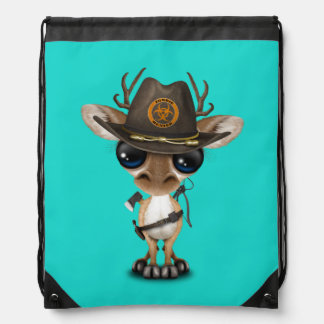Baby Deer Zombie Hunter Drawstring Bag