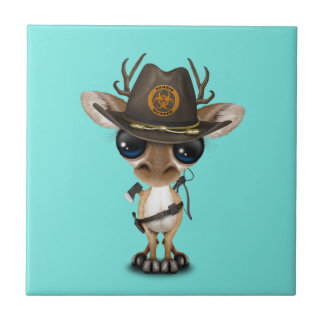 Baby Deer Zombie Hunter Tile