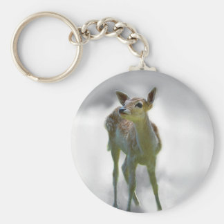 Baby deer's curiosity basic round button key ring