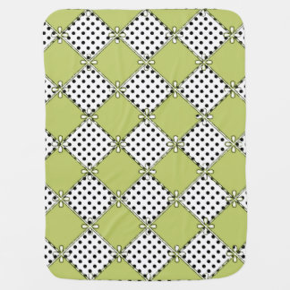 Baby-Diamond's & Dots-Olive-Black-Stylish_Blanket Baby Blanket