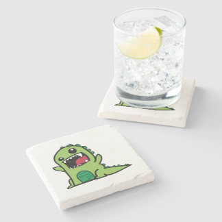 Baby dinosaur cartoon stone beverage coaster