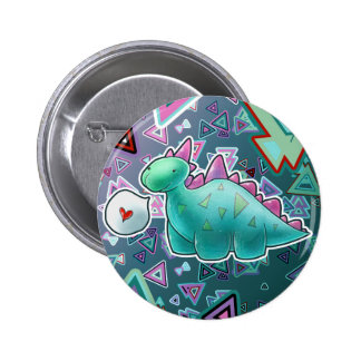 Baby Dinosaur Triangle Background Pinback Buttons