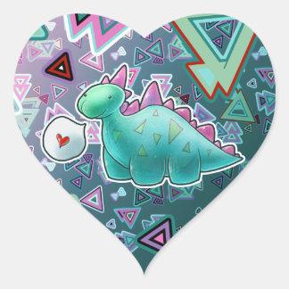 Baby Dinosaur Triangle Background Heart Stickers