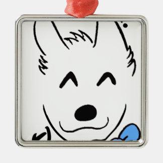 Baby dog metal ornament