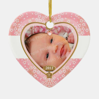 Baby Double Sided Photo Heart Frame Ceramic Heart Decoration