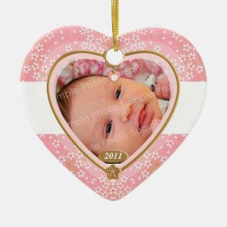 Baby Double Sided Photo Heart Frame Ceramic Heart Decoration
