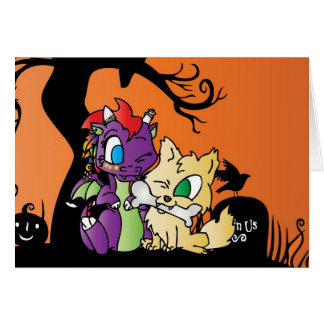 Baby Dragon and wolf card