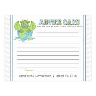 Baby Dragon Baby Shower Advice Card Postcard