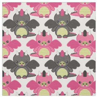 Baby Dragons - Pink & Black Pattern Fabric