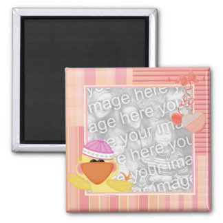 Baby duck photo frame square magnet