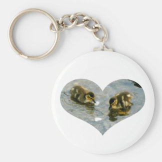 Baby Duckies Heart Keychain