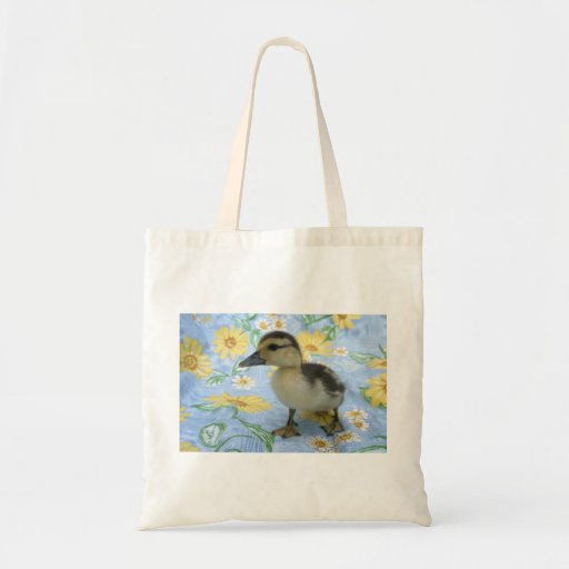 baby duckling on flowered background left canvas bag