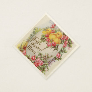 Baby Easter Chicks and Roses Paper Napkins Paper Napkin