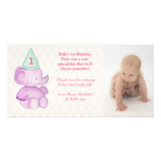 Baby Elephant 1st Birthday Thank You Photo Card