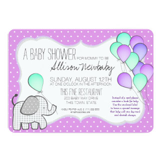 Baby Elephant and Balloons Magenta Baby Shower 13 Cm X 18 Cm Invitation Card