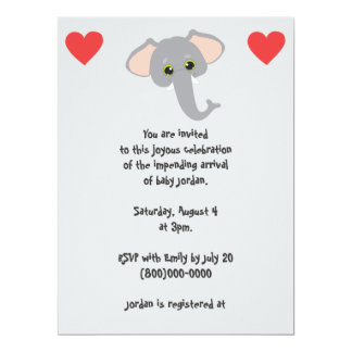 Baby Elephant and Hearts Grey Baby Shower 17 Cm X 22 Cm Invitation Card