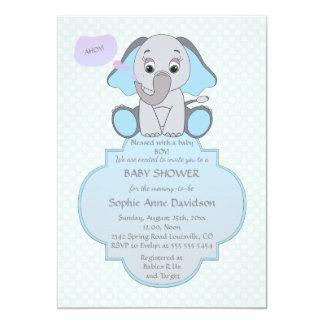Baby Elephant Baby Boy Baby Shower Invite