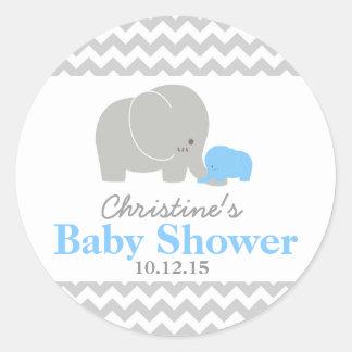 Baby Elephant Baby Shower Favor Labels Round Sticker