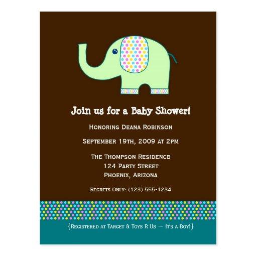 Baby Elephant Baby Shower Invitation Post Cards