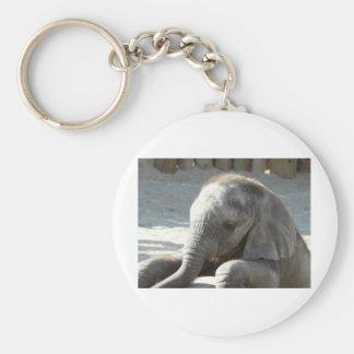baby elephant basic round button key ring