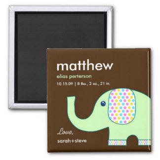Baby Elephant Birth Announcement Magnet