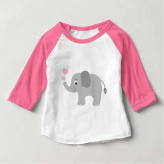 Baby Elephant Blowing Pink Hearts Baby T-Shirt