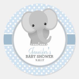 Baby Elephant (blue) Baby Shower Round Sticker