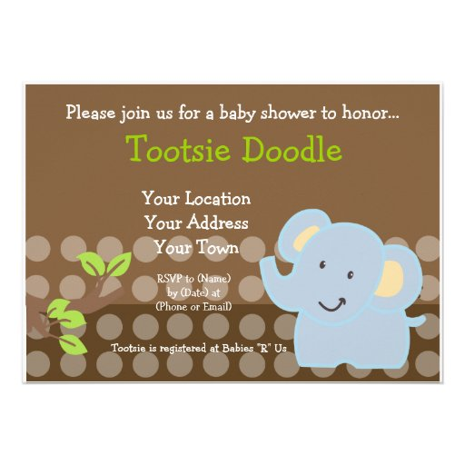 Baby Elephant Blue Boy Baby Shower Sprinkle Personalised Announcements