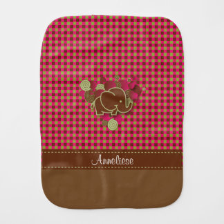 Baby Elephant - Dark Pink, Brown and Green Plaid Burp Cloth
